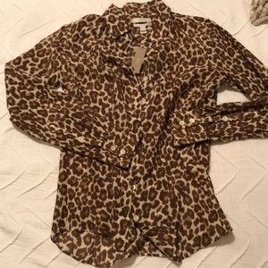 Jcrew leopard button down with tags- brand new